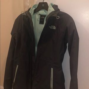 North face 3-in-1 lined raincoat in grey and teal